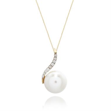 18ct Yellow Gold Freshwater Pearl and Diamond Pendant thumbnail