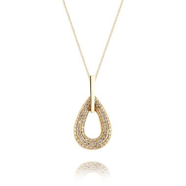 18ct Yellow Gold Teardrop Shape Diamond Pendant thumbnail
