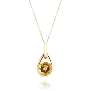 18ct Yellow Gold Citrine Teardrop Pendant thumbnail