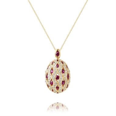 18ct Yellow Gold Cocoon Design Ruby and Diamond Pendant thumbnail