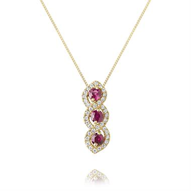 Oriana 18ct Yellow Gold Ruby and Diamond Pendant thumbnail