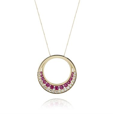 18ct Yellow Gold Ruby and Diamond Pendant thumbnail