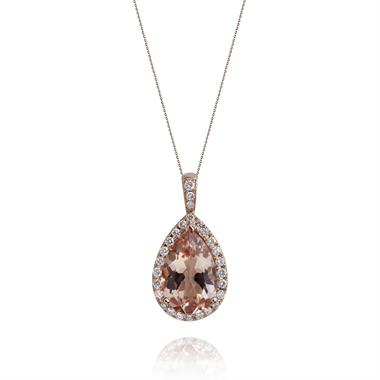 Ortensia 18ct Rose Gold Morganite and Diamond Pendant thumbnail