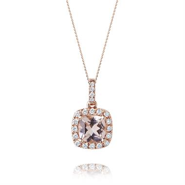 18ct Rose Gold Cushion Cut Morganite and Diamond Pendant thumbnail