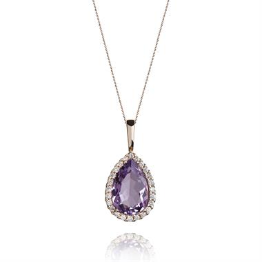 18ct Rose Gold Pear Shape Amethyst and Diamond Pendant thumbnail