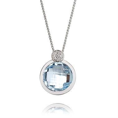 18ct White Gold Topaz and Diamond Briolette Pendant thumbnail
