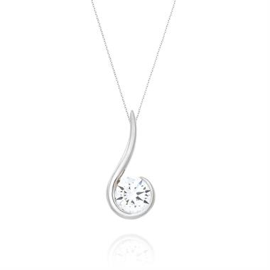 18ct White Gold Swirl Design 0.40ct Diamond Pendant thumbnail