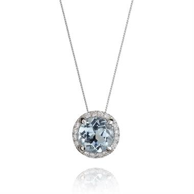 Camellia 18ct White Gold Topaz and Diamond Halo Pendant thumbnail