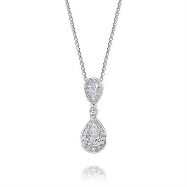 18ct White Gold Pear Shape Diamond Drop Pendant thumbnail