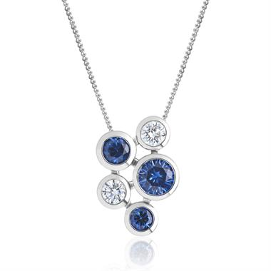 Alchemy 18ct White Gold Sapphire and Diamond Pendant - Small thumbnail