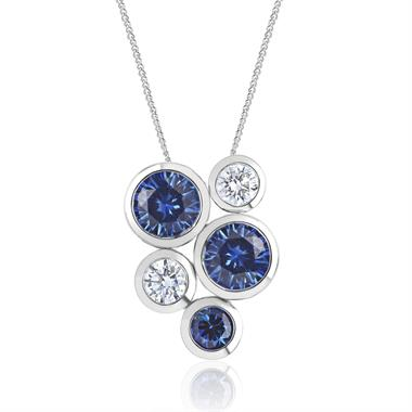 Alchemy 18ct White Gold Sapphire and Diamond Pendant - Large thumbnail