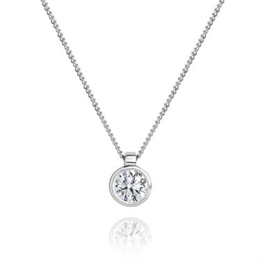18ct White Gold Rubover Diamond Solitaire Pendant thumbnail