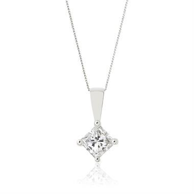18ct White Gold Princess Cut Diamond Solitaire Pendant 0.15ct thumbnail