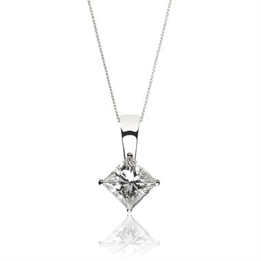 18ct White Gold Princess Cut Diamond Solitaire Pendant 0.50ct thumbnail