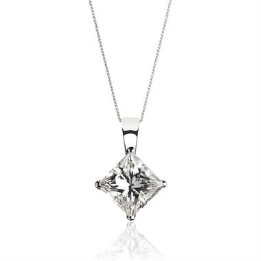 18ct White Gold Princess Cut Diamond Solitaire Pendant 0.40ct thumbnail