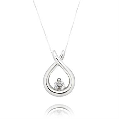 18ct White Gold Diamond Pendant 0.10ct thumbnail