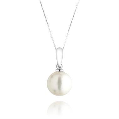 18ct White Gold 8.5mm Cultured Pearl Drop Pendant thumbnail