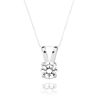 18ct White Gold Classic 0.25ct Diamond Solitaire Pendant thumbnail