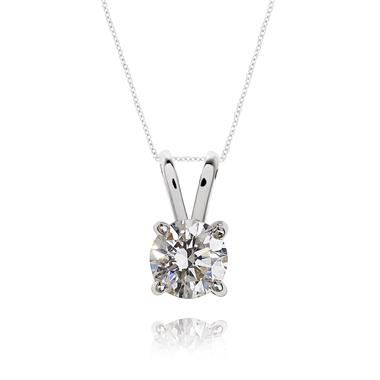 18ct White Gold Classic 0.35ct Diamond Solitaire Pendant thumbnail