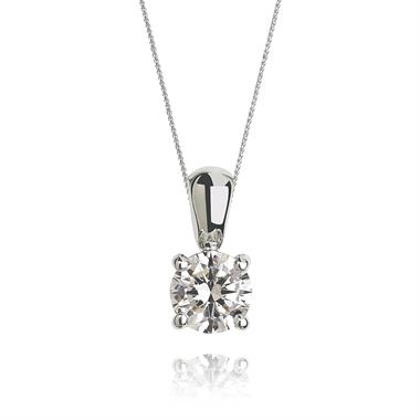18ct White Gold Classic Design Diamond Solitaire Pendant 0.40ct thumbnail