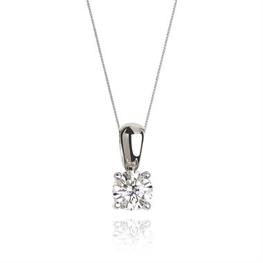 18ct White Gold Modern 0.60ct Diamond Solitaire Pendant thumbnail