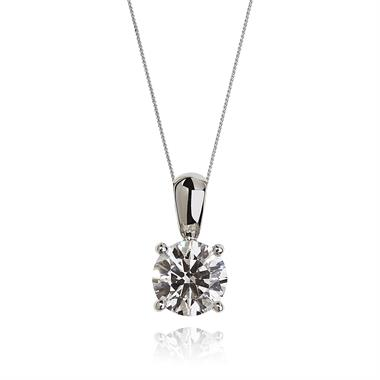 18ct White Gold Classic Design Diamond Solitaire Pendant 0.70ct thumbnail