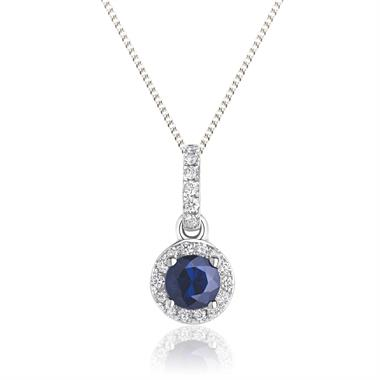 18ct White Gold Sapphire and Diamond Halo Pendant thumbnail