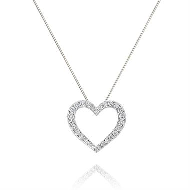 18ct White Gold Modern Diamond Heart Pendant thumbnail