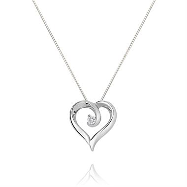 18ct White Gold Diamond Swirling Heart Pendant thumbnail