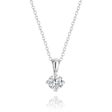 18ct White Gold Classic Diamond Solitaire Pendant thumbnail
