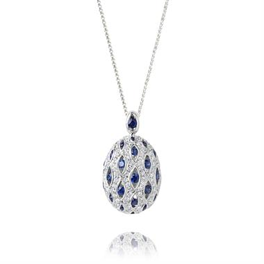 18ct White Gold Sapphire and Diamond Cocoon Shape Pendant thumbnail