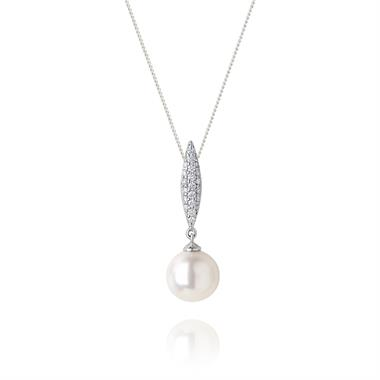 18ct White Gold Pearl and Diamond Marquise Shape Pendant thumbnail