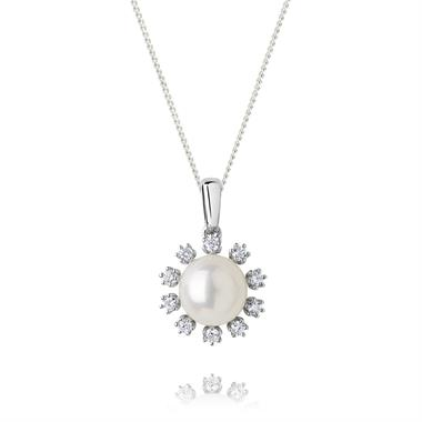 18ct White Gold Freshwater Pearl and Diamond Flower Pendant thumbnail