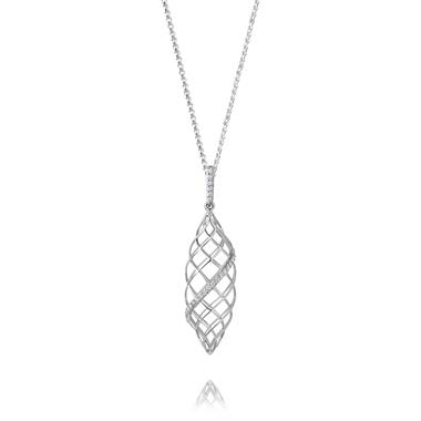 18ct White Gold Lattice Design Diamond Pendant 0.10ct thumbnail