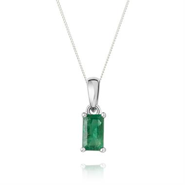 18ct White Gold Emerald Solitaire Pendant thumbnail