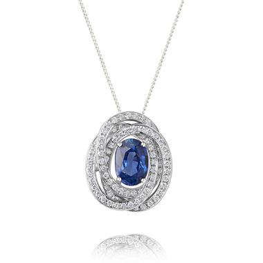 18ct White Gold Sapphire and Diamond Knot Pendant thumbnail
