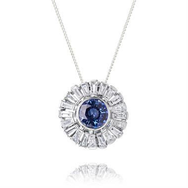 18ct White Gold Sapphire and Diamond Flower Pendant thumbnail