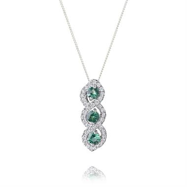 Oriana 18ct White Gold Emerald and Diamond Pendant thumbnail