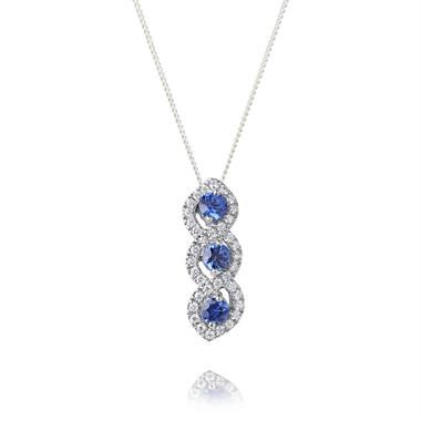 Oriana 18ct White Gold Sapphire and Diamond Pendant thumbnail