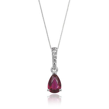 18ct White Gold Classic Ruby and Diamond Drop Pendant thumbnail