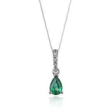 18ct White Gold Classic Emerald and Diamond Drop Pendant thumbnail