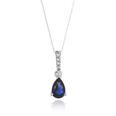 18ct White Gold Classic Sapphire and Diamond Drop Pendant thumbnail