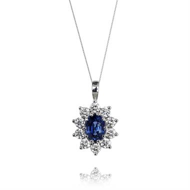 18ct White Gold Sapphire and Diamond Cluster Pendant thumbnail