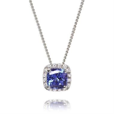 18ct White Gold Tanzanite and Diamond Pendant thumbnail