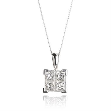Illusion 18ct White Gold 0.50ct Diamond Pendant thumbnail