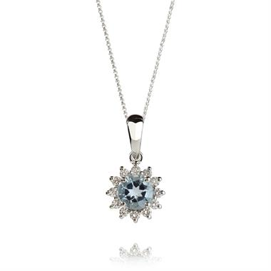 18ct White Gold Aqumarine and Diamond Cluster Pendant thumbnail