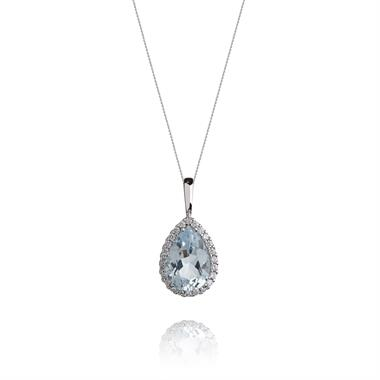 18ct White Gold Pear Shape Topaz and Diamond Pendant thumbnail