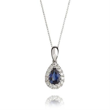 18ct White Gold Pear Shape Sapphire and Diamond Pendant thumbnail