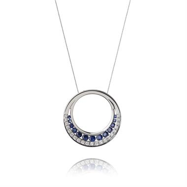 18ct White Gold Sapphire and Diamond Circle Pendant thumbnail