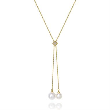 18ct Yellow Gold Pearl and Diamond Lariat Necklace thumbnail